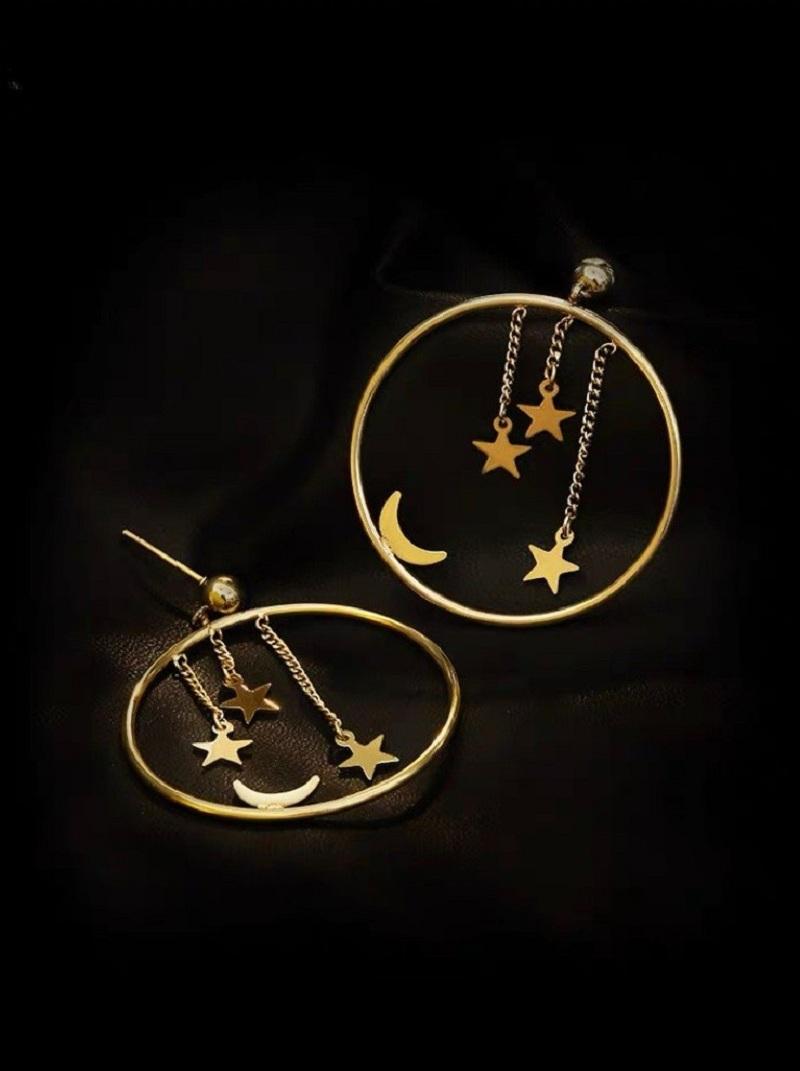 星月圓圈特色耳環,,,H21S9717,星月圓圈特色耳環,
