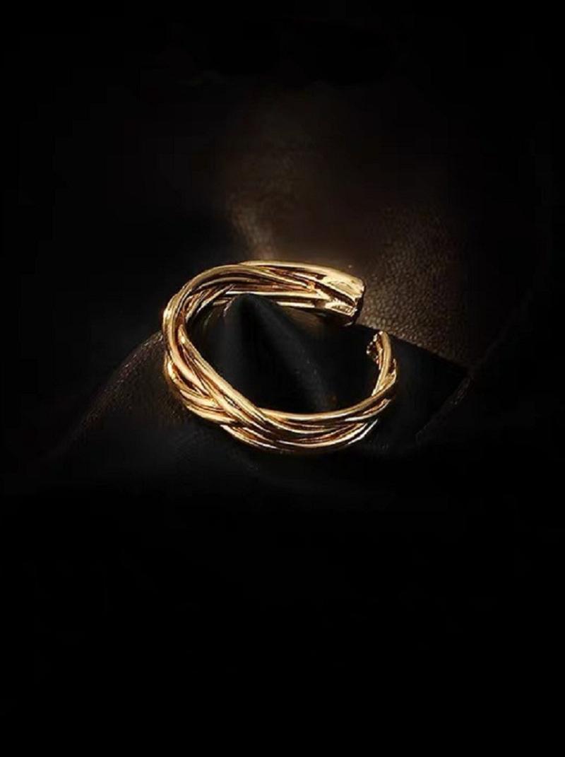 簡約麻花扭結可調式戒指