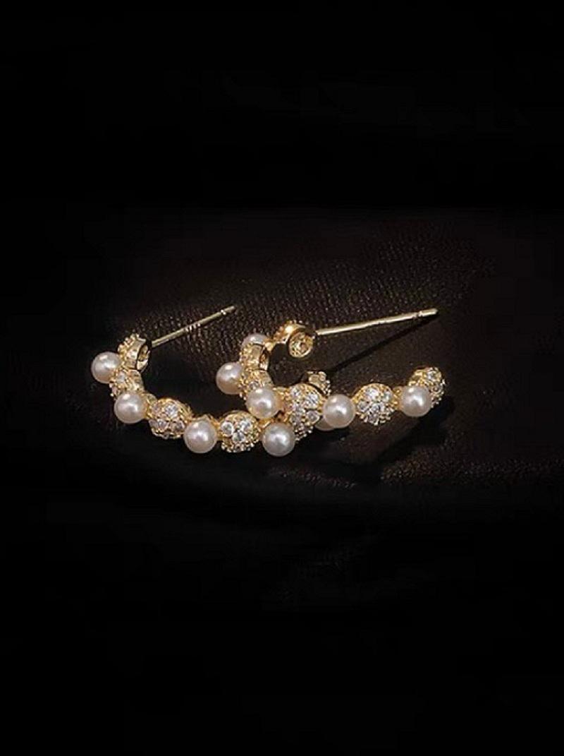 法式名媛金屬綴珍珠耳環