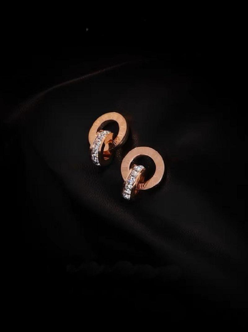 雙圈刻字水鑽耳環