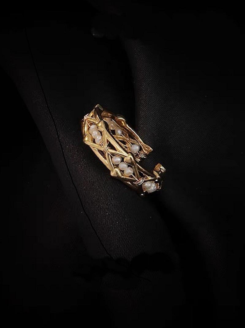 菱格串接珍珠可調式戒指