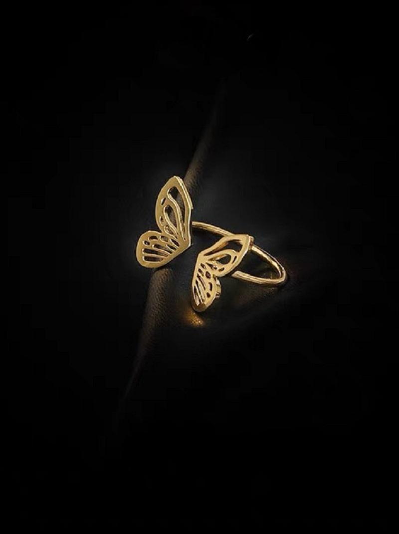 立體蝴蝶造型可調式戒指