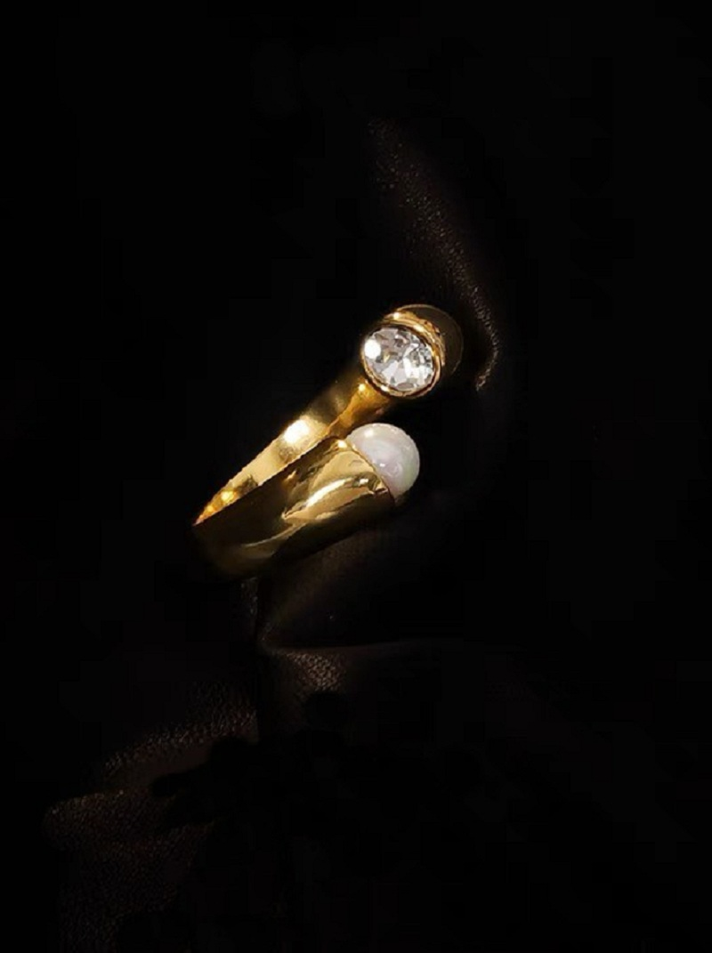 珍珠水鑽開口式戒指,,,H21S9741,珍珠水鑽開口式戒指,