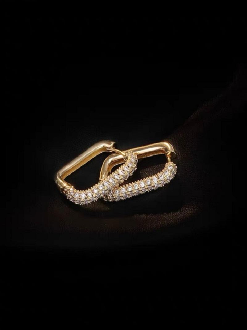 鑲半鑽方耳環