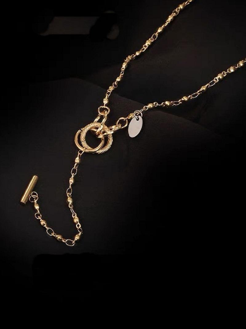 金色雙環扣造型項鍊,,,H21S9748,金色雙環扣造型項鍊,