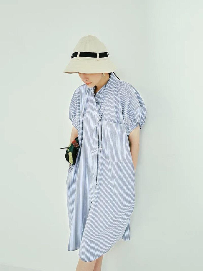 寬鬆條紋襯衫洋裝
