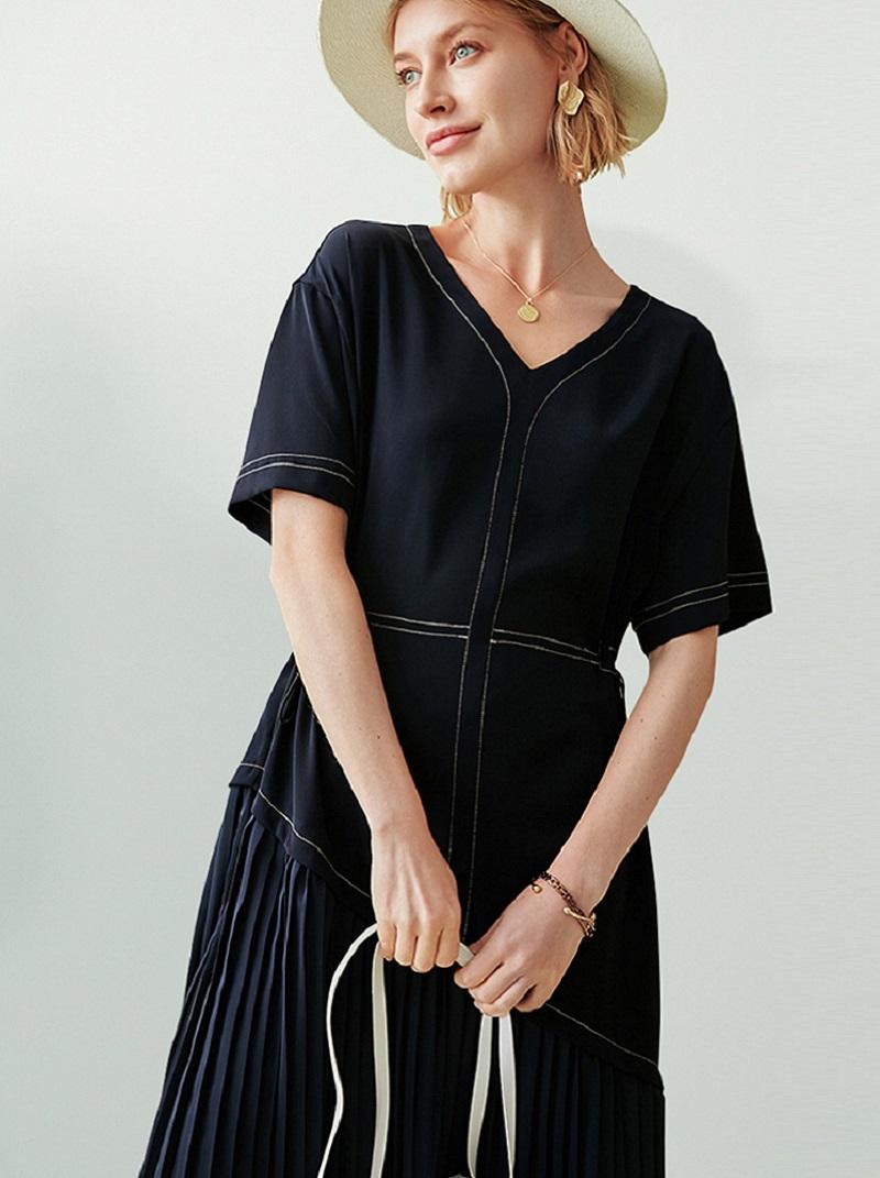 法式優雅下擺拼接百摺中長款洋裝