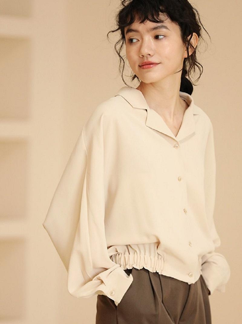 涼爽面料寬鬆連袖襯衫