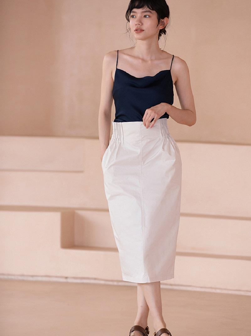 輕熟風琴摺復古高腰裙