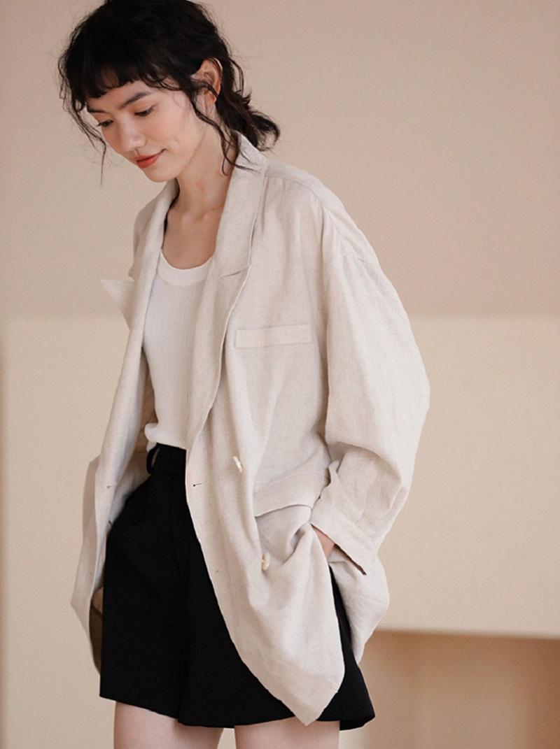 防曬透氣亞麻寬鬆型西裝外套