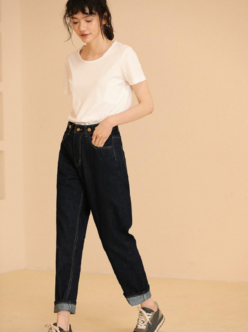 復古風格深藍牛仔褲