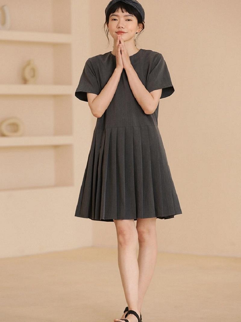 法式氣質百摺裙短洋裝