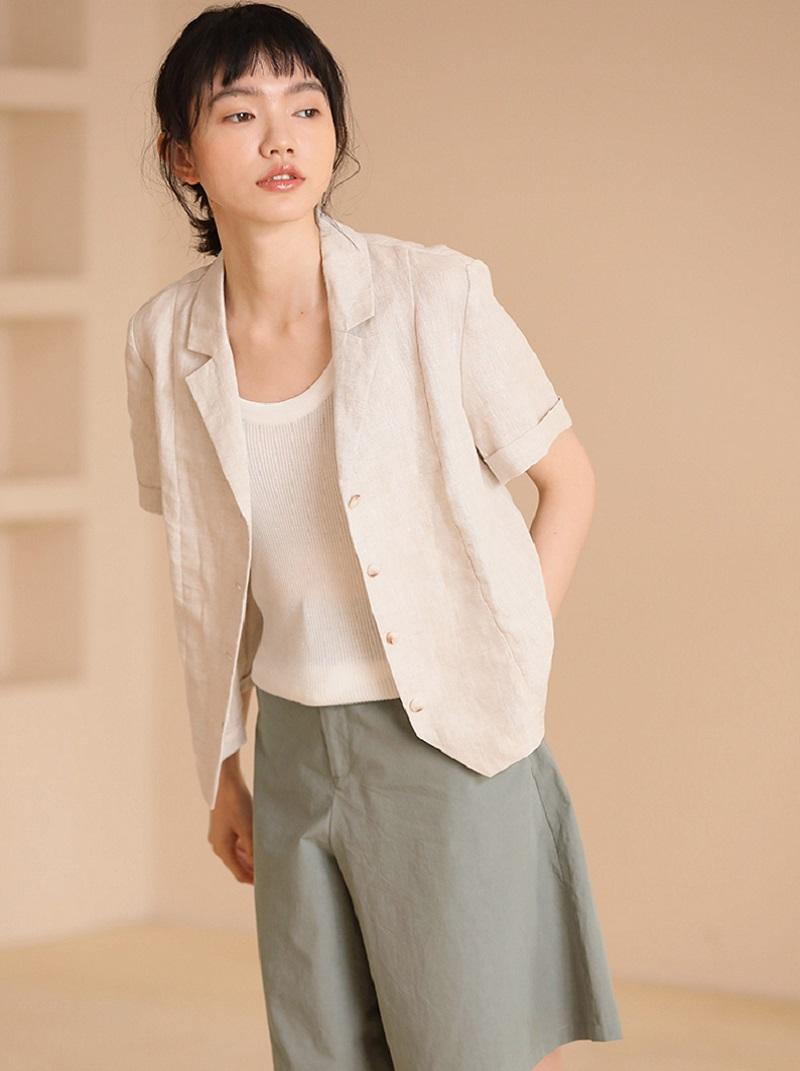 復古法式棉麻西裝式短外套,,,H21S5714,復古法式棉麻西裝式短外套,