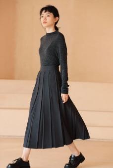氣質百褶純色中長裙