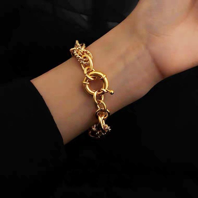 個性麻花紋鎖圈粗手環