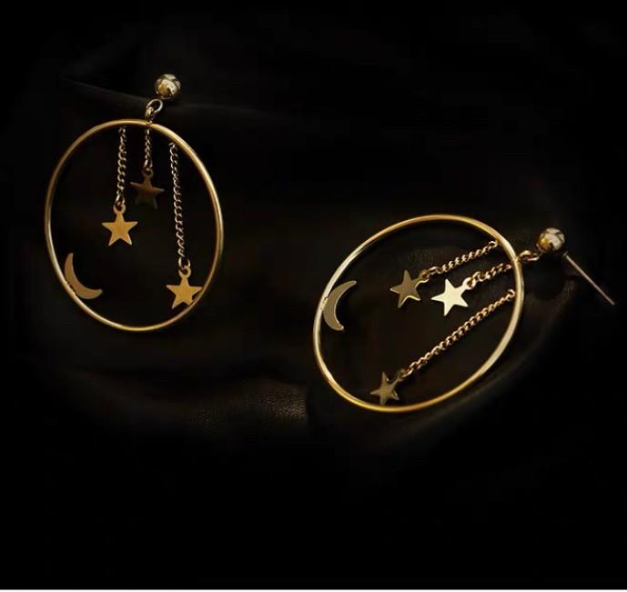 星月圓圈特色耳環