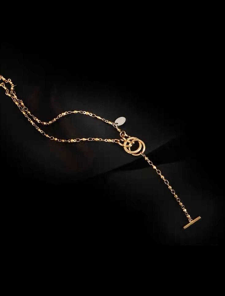 金色雙環扣造型項鍊