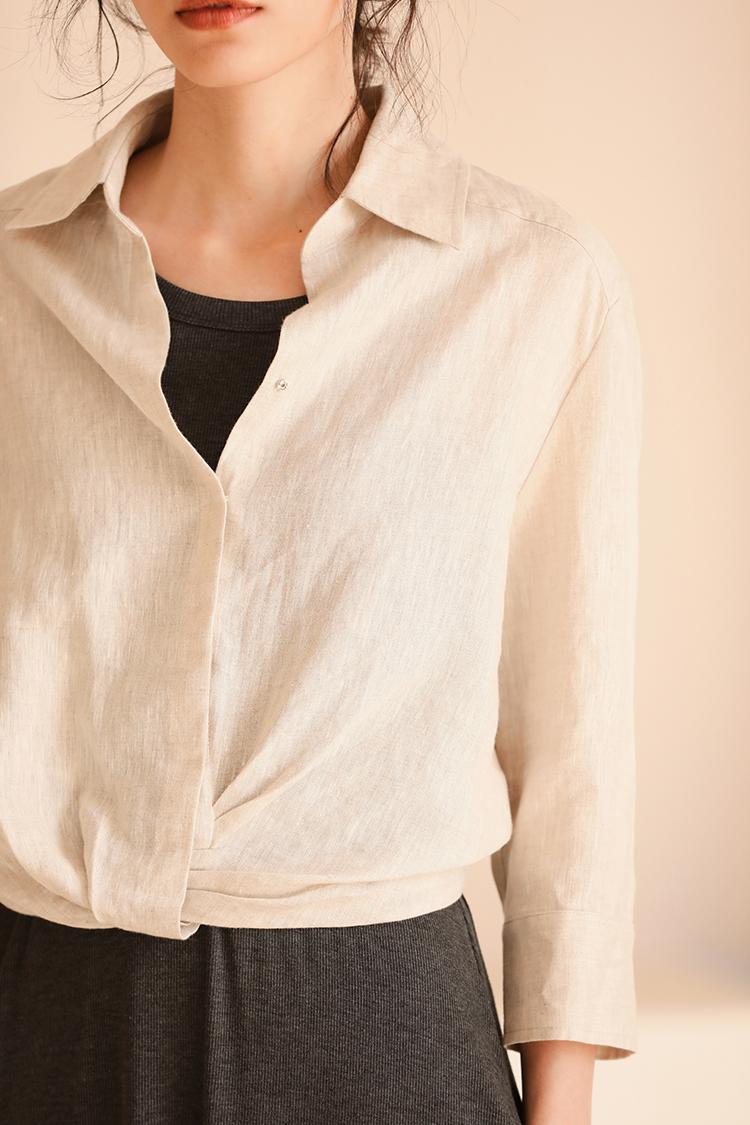 扭結造型亞麻七分袖短款上衣