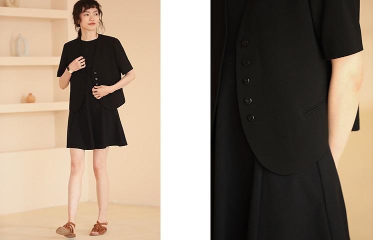 復古氣質短袖西裝式短外套