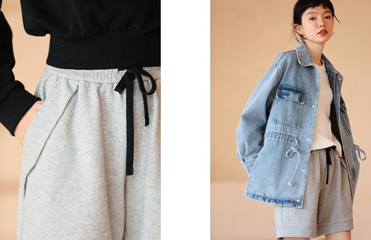 大口袋毛圈料休閒短褲