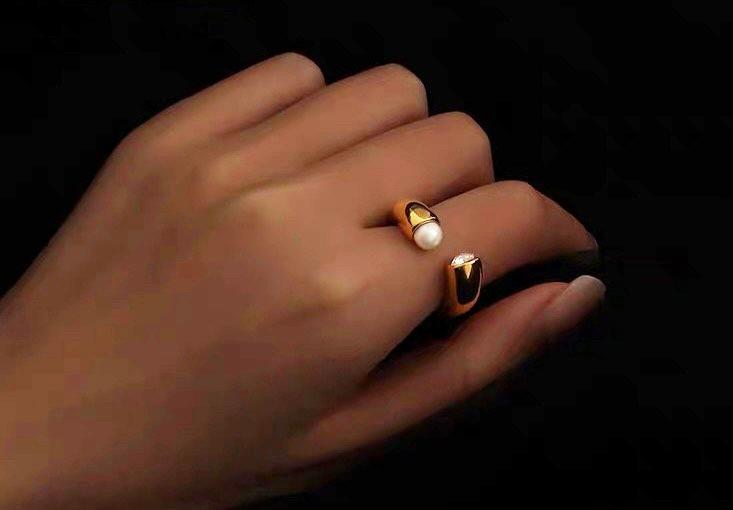 珍珠水鑽開口式戒指