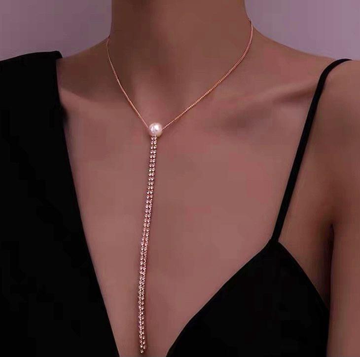 珍珠水鑽鍊項鍊