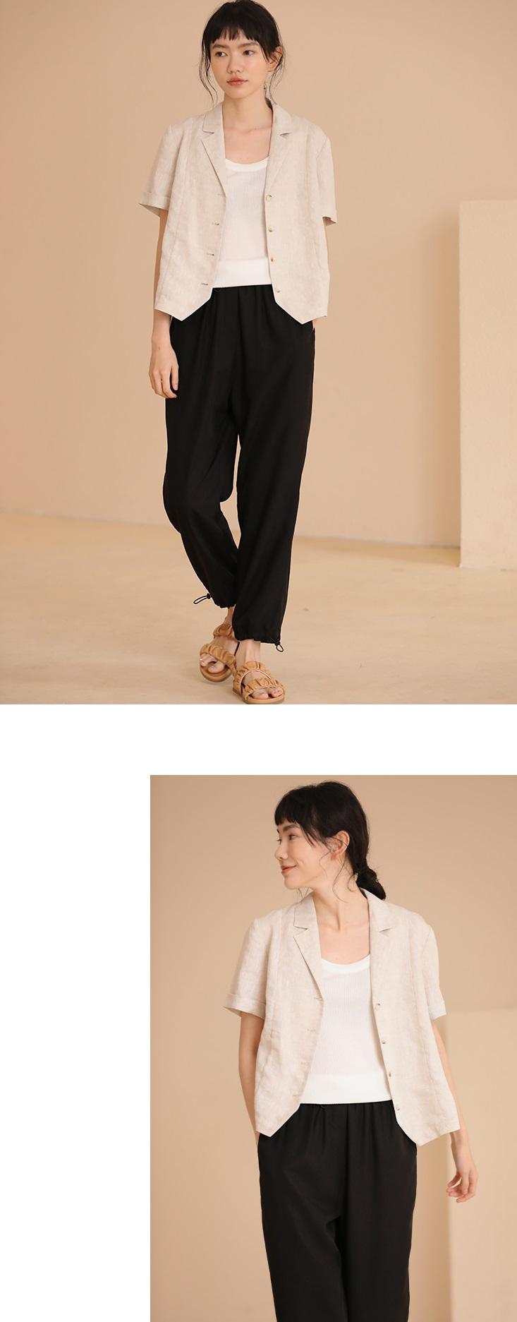 復古法式棉麻西裝式短外套