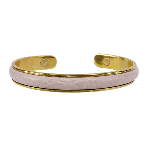 《聖宏》Aria 健康手環-粉紅色皮革磁性手鐲