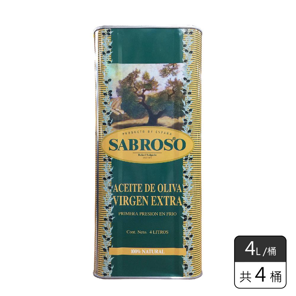《馥聚 Foody》 SABROSO莎寶蘿特級冷壓初榨橄欖油4L*4桶