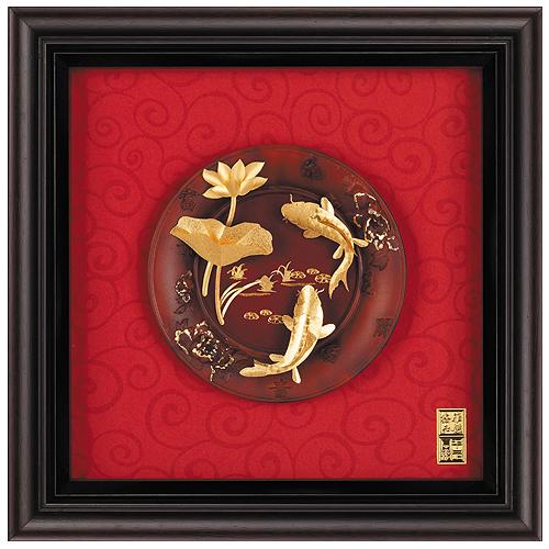 《聖宏》立體金箔畫-圓盤系列 (連年有餘)