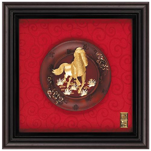 《聖宏》立體金箔畫-圓盤系列 (馬到成功)