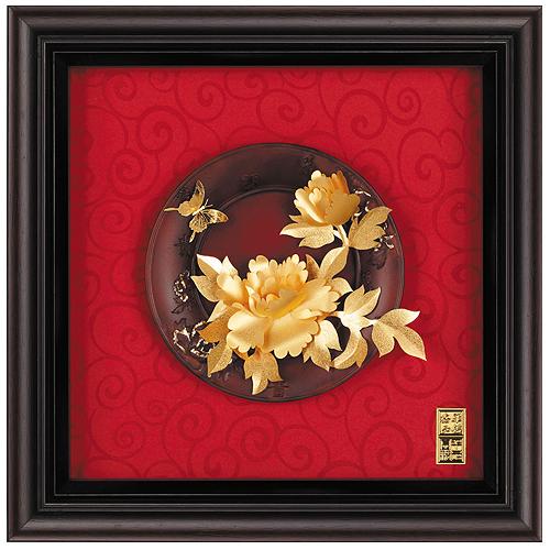 《聖宏》立體金箔畫-圓盤系列 (花開富貴)