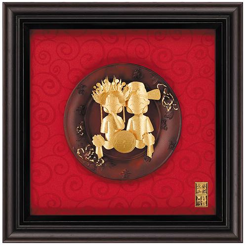《聖宏》立體金箔畫-圓盤系列 (雙喜娃娃)