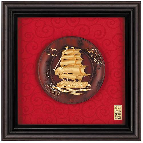 《聖宏》立體金箔畫-圓盤系列 (一帆風順)