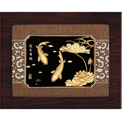 《聖宏》立體金箔畫-框畫系列27x34 (連年有餘)