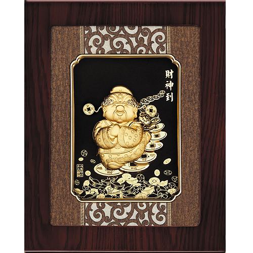 《聖宏》立體金箔畫-框畫系列27x34 (財神到)