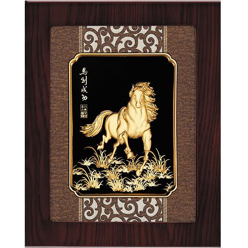 《聖宏》立體金箔畫-框畫系列27x34 (馬到成功)