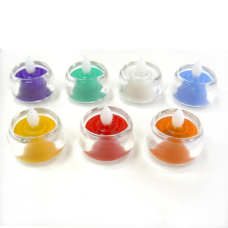 《弘麒》LED環保電子式蠟燭環保燭芯燈超長效型-中型含杯(七色任選,共7入)