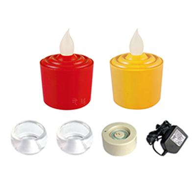 《弘麒》LED環保蠟燭燈/組-充電式(二色任選, 2燈+2杯+單座充電器)